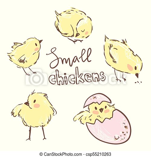 Kleine gelbe Hühner. Hübsche Figuren. - csp55210263