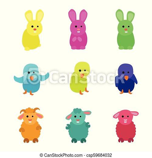 Kleiner Hase, Hühnchen und Schafe. - csp59684032