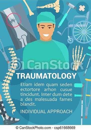 Traumatologie-Klinik, Vektor-Traumatologe - csp61668669