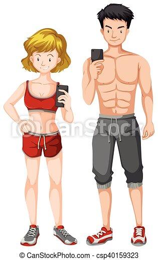koerper, frau, muskulös, mann - csp40159323