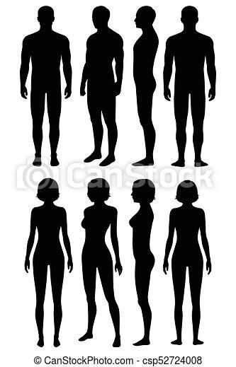 koerperbau, ansicht, menschlicher körper, zurück, seite, front - csp52724008