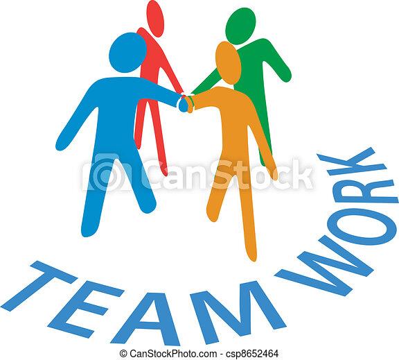 Kollaboration-Leute schließen sich der Handarbeit an. - csp8652464