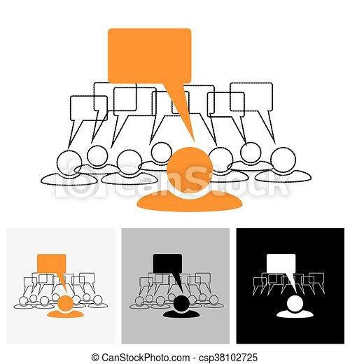 Konzept Vektorgrafik - Leader & Mitarbeiter sprechen ( Redeblasen) - csp38102725