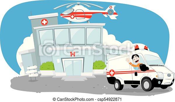 Krankenhausgebäude mit Hubschrauber auf dem Dach und ein Krankenwagen, der sich beeilt, während der Fahrer jubelt - csp54922871