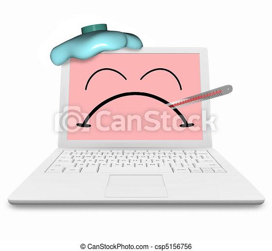 Kranker Computer - Virus infiziert und unglücklich - csp5156756