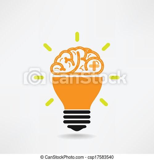 Kreatives Gehirnsymbol, Kreativitätszeichen, Business Symbol, Wissen und Bildung Ikone - csp17583540
