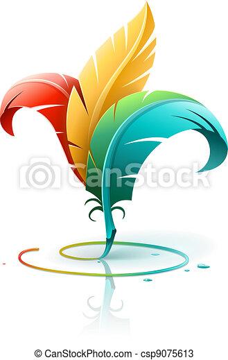 Kreatives Kunstkonzept mit Farbfedern - csp9075613