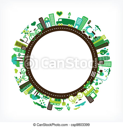 Kreis mit grüne Stadt - Umwelt und Ökologie. - csp9803399