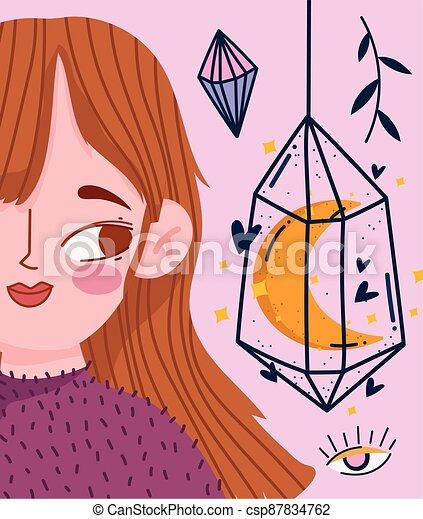 kristall, m�dchen, magisches, karikatur, esoterisch, astrologie - csp87834762