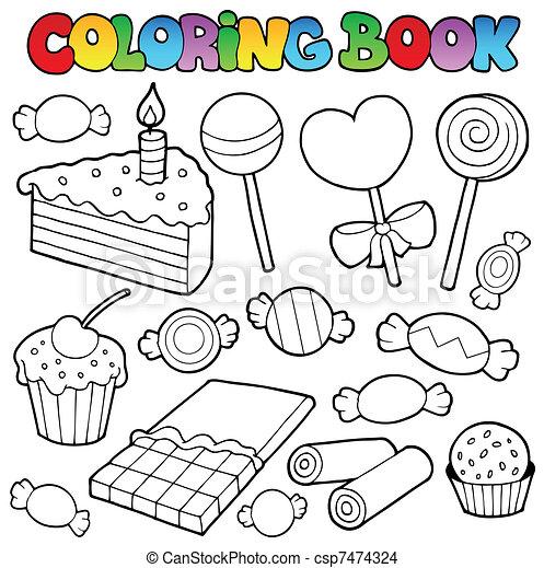 kuchen, farbton- buch, zuckerl - csp7474324