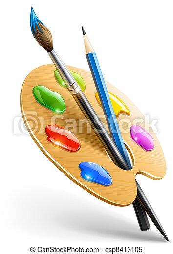 Kunstpalette mit Pinsel und Bleistiftwerkzeugen zum Malen - csp8413105