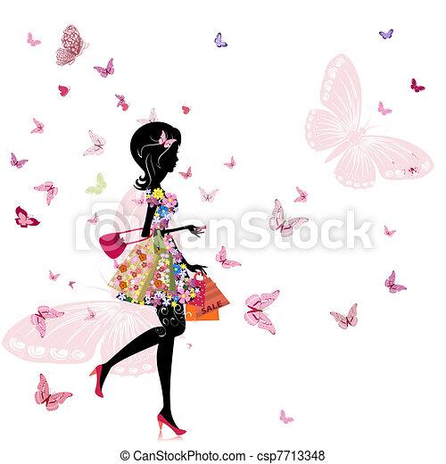 Ein Mädchen mit einem Blumenladen - csp7713348