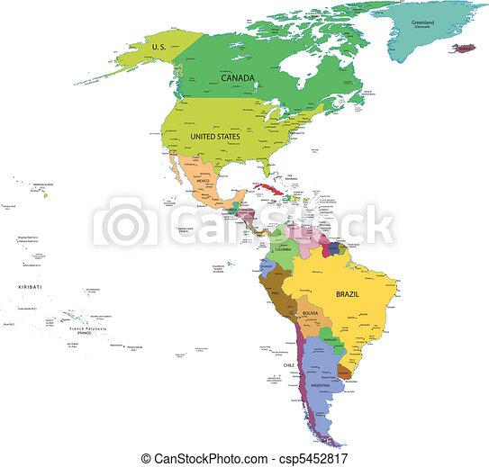 Karte von Süd- und Nordamerika mit - csp5452817