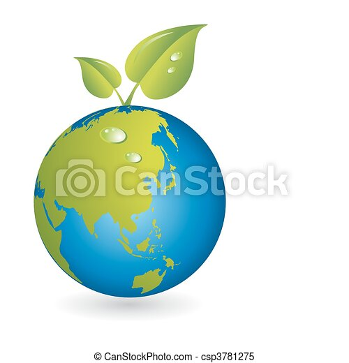 Neues Leben, Blatt mit Weltkartenkugeln - csp3781275