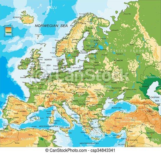 Europa - physische Karte - csp34843341