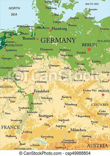 landkarte, physisch, deutschland - csp49988804