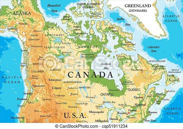 Physische Karte von Kanada - csp51911234