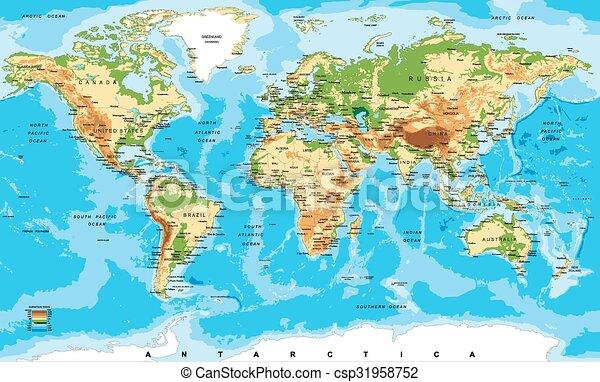 landkarte, physisch, welt - csp31958752