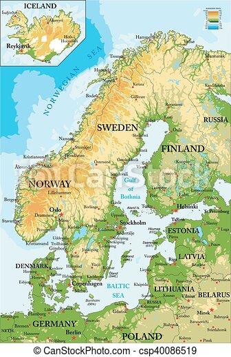 Skandinavien-physische Karte - csp40086519