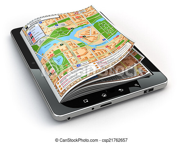 GPS Navigationskonzept. Guide map on the tablet pc screen. - csp21762657