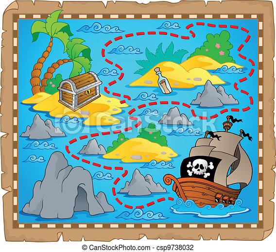 landkarte, thema, schatz, bild, 3 - csp9738032