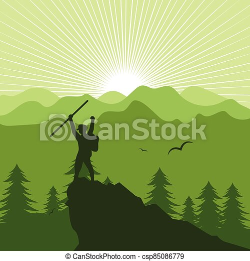 landschaftsbild, leute, berg, abbildung, wandern, vektor - csp85086779