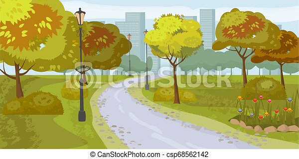 Landschaftshintergrund. Öffentlicher Park in der Stadt. Vector Illustration. Isoliert - csp68562142
