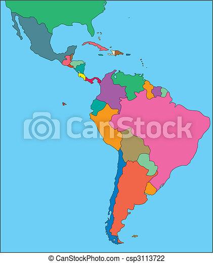 latein, editable, amerika, länder - csp3113722