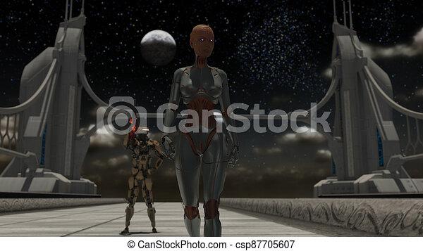 lauge, cyborg, raum, roboter - csp87705607