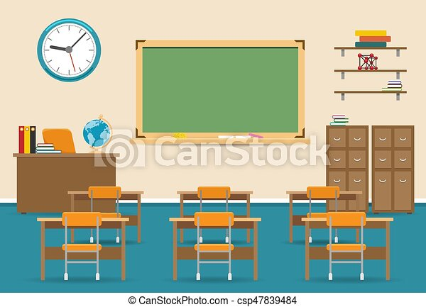 Leeres Klassenzimmer mit Tafel - csp47839484