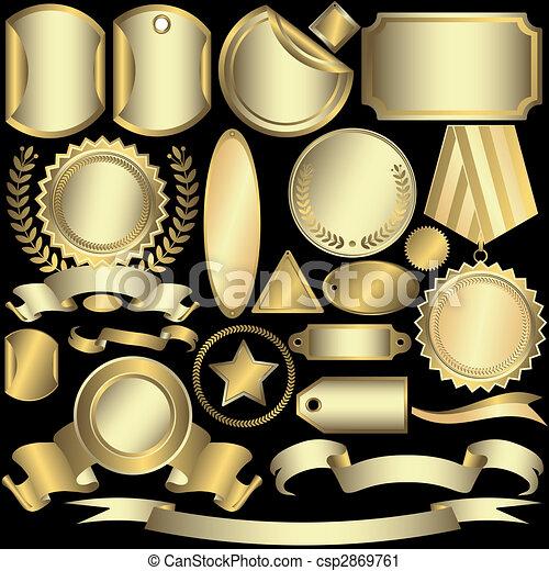 Leg goldene und silberne Etiketten (Vektor) - csp2869761