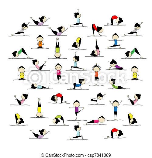 Leute üben Yoga, 25 Posen für dein Design - csp7841069