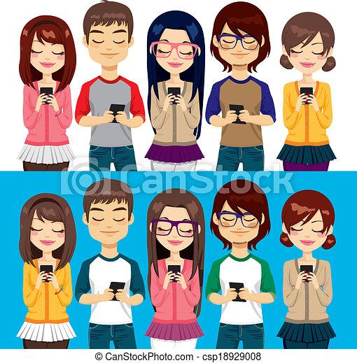 Leute, die Handys benutzen. - csp18929008