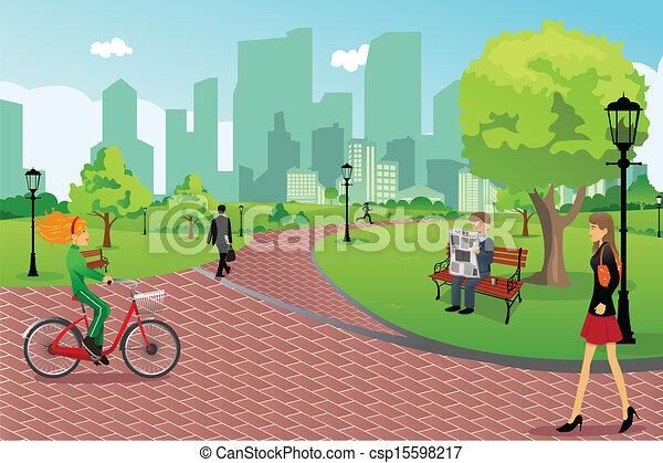 Leute in einem Stadtpark - csp15598217
