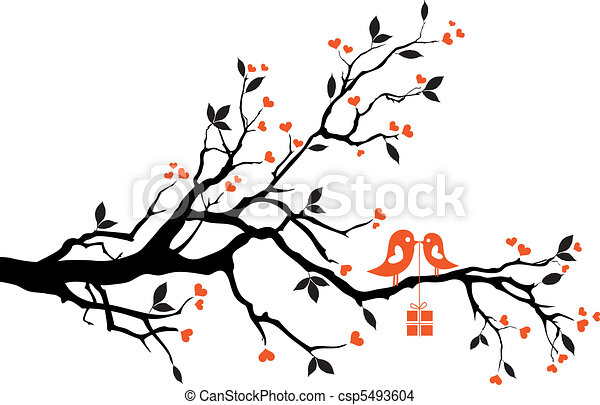 Liebesvögel mit Geschenkkasten, Vektor - csp5493604