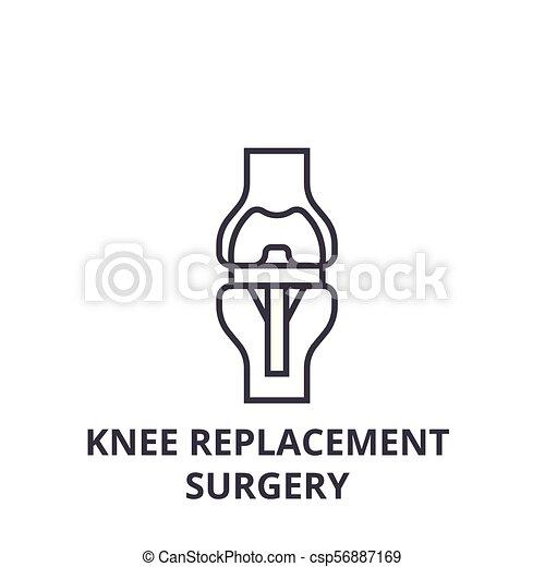 Knee Ersatzchirurgie dünne Linie Icon, Zeichen, Symbol, Illustration, lineares Konzept, Vektor - csp56887169