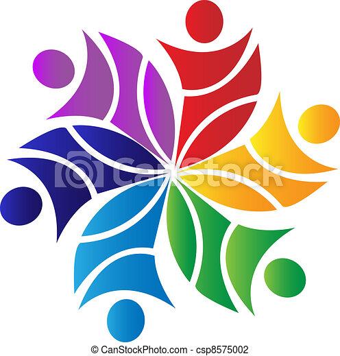 Teamwork-Blumen-Logo - csp8575002