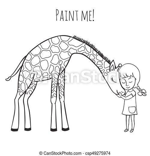 Mädchen und Giraffe - csp49275974