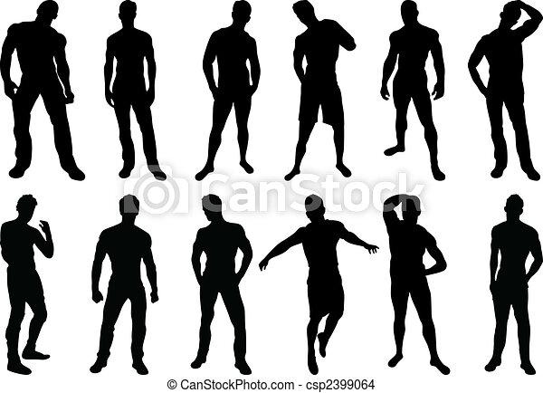 Männer schilhouette - csp2399064