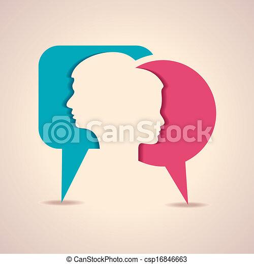Männliches und weibliches Gesicht mit Nachricht B - csp16846663