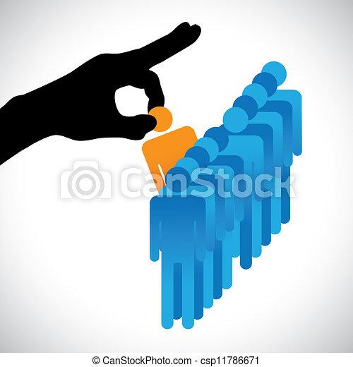 machen, person, andere, grafik, kandidaten, firma, hr, wählen, am besten, shows, rechte hand, silhouette, wahlmöglichkeit, arbeit, fähigkeiten, viele, employee., abbildung, dargestellt, begriff - csp11786671