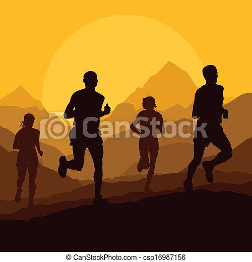 Marathonläufer in wilder Naturlandschaft. - csp16987156