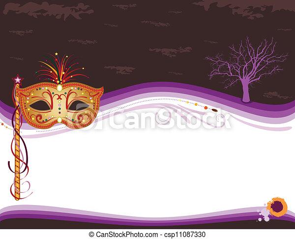 Halloween-Masken-Einladung mit goldener Maske - csp11087330