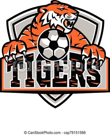 maskottchen, tiger, fußball, schutzschirm - csp79151566