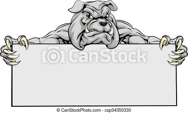 maskottchen, zeichen, bulldogge, sport - csp34350330
