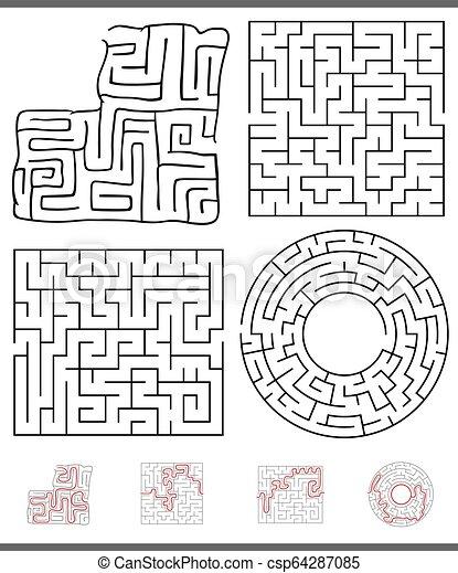 Maze Freizeitspielgrafik eingestellt. - csp64287085