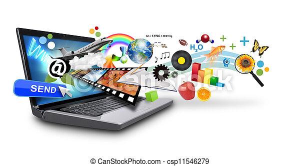 Mehrere Medien-Internet-Laptop mit Ob - csp11546279