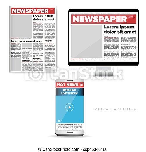 Medienentwicklung - Zeitung, Web, Handy. - csp46346460