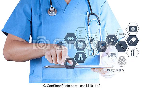 Medizinarzt arbeitet mit modernem Tablet-Computer und virtueller Schnittstelle als medizinisches Konzept - csp14101140