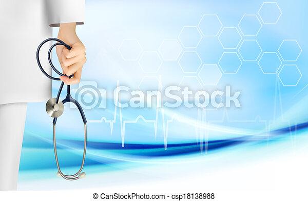 Medizinischer Hintergrund mit Hand mit Stethoskop. Vector. - csp18138988